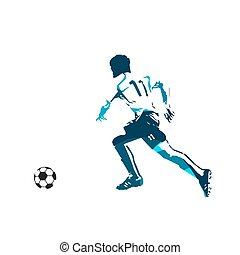 Running soccer player, abstract blue vector illustration