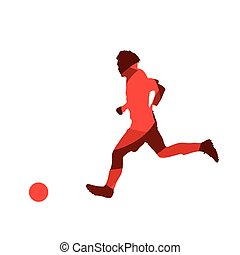 Running soccer player, abstract red vector silhouette