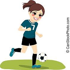 Running Soccer Player Girl