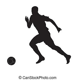 Running soccer player, vector silhouette, side view