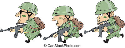Running Soldiers - Illustration of Camouflaged Soldiers...