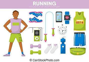 Running sport equipment marathon runner man garment accessory vector icons set