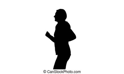 Running sport girl . Side view. Silhouette - Running sport...