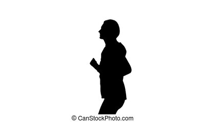 Running sport girl. Side view. Silhouette. Slow motion -...