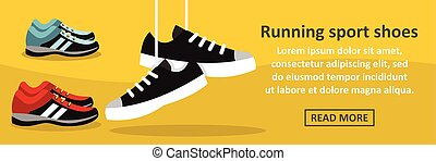 Running sport shoes banner horizontal concept