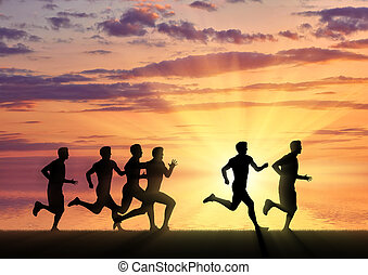 Running sports. Competition athletes runners