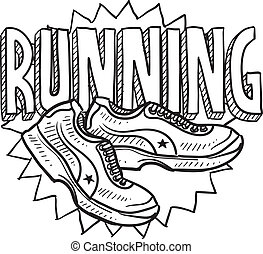 Running sports sketch - Doodle style running sports...