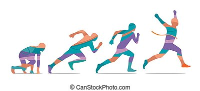 Running step. Runner from start to finish. Side view.