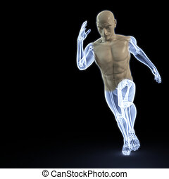 running - the body of a man running under the X-rays....