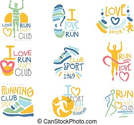 Running Supporters And Run Fans Club For People That Love Sport Set Of Colorful Promo Sign Design Templates