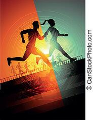 Running team - Group Of Runners, men and women running to...