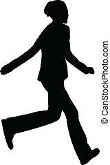 running teenage girl silhouette