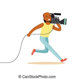 Running television video operator records news