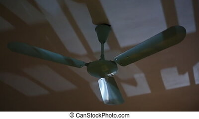 Running the fan in the room at night. Slow rotation.