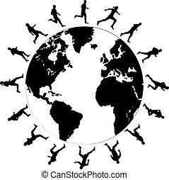 running the world - black silhouettes of running around the...