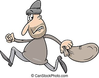 running thief cartoon illustration - Cartoon Illustration of...