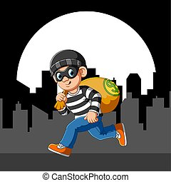 Running thief with eye mask of illustration