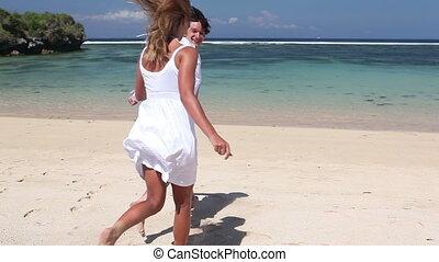 Running to ocean