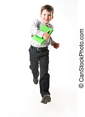 Running to school - Photo of happy youngster running for a...