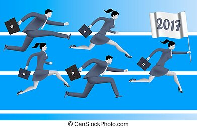 Running to year 2017 business concept