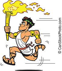 Running Torch Bearer - Runner Torch Bearer Dressed in...
