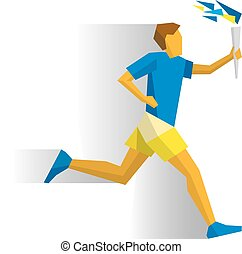 Running torchbearer. Sportsman with torch - Running...
