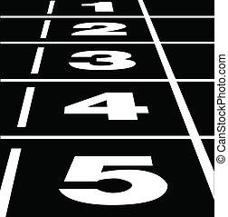Running track black - Vector of start or finish position on...