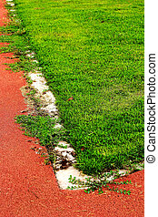 Running track for in the stadium - green grass.