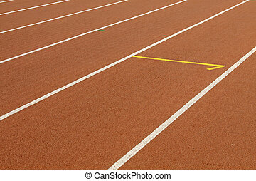 Running track in a stadium