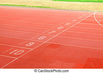 Running track lanes for athletes