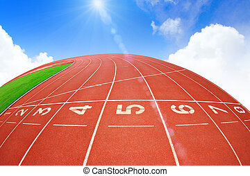 Running track over blue sky