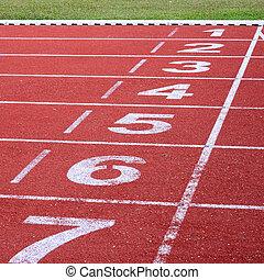 running track, start and finish line