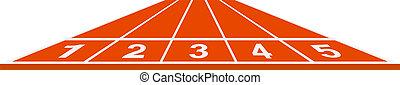 Running track - start position on white background