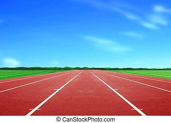 Running Track under Blue Sky