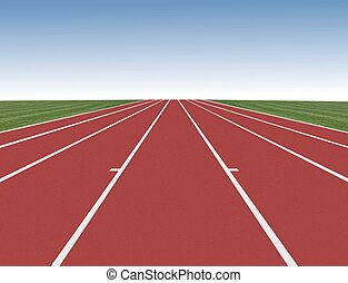 Running track with blue sky in distance
