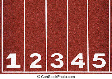 White number on red running track.