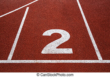 Running track with number 2, texture for background.