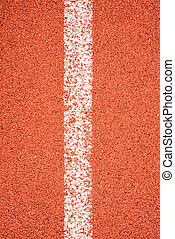 Running track with white line texture.