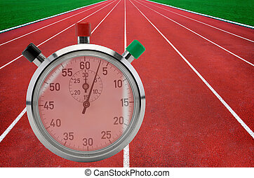 Running tracks and stop watch