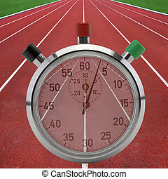Running tracks with stop watch