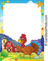 Running turkey bird theme frame 1 - eps10 vector ...