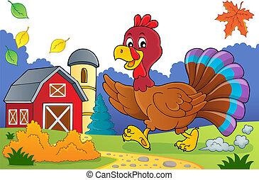 Running turkey bird theme image 3
