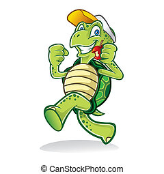 Running Turtle - Cartoon turtle was running cheerfully while...