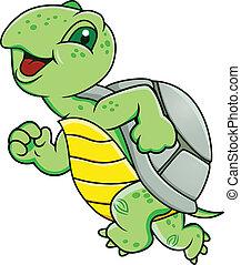 Running Turtle - Vector Illustration Of Running Turtle