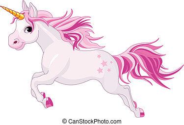 Illustration of beautiful running unicorn