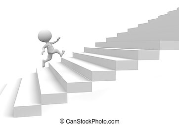 Running up on stairs - 3d people - man, person running up on...