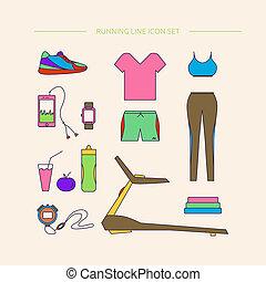 running., vêtant accessoires