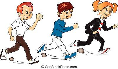 running., vettore, bambini