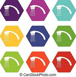 Running water icons set 9 vector - Running water icons 9 set...