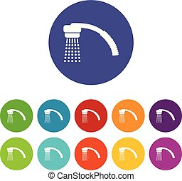 Running water icons set vector color - Running water icons...